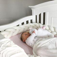 Original Braided Crib Bumper made with organic cotton so it's soft on baby's skin White braided cushion for nursery crib bedding