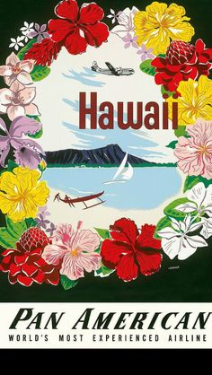 Diamond Head, Hawaii Pan Am Airlines vintage travel poster  Hawaiian Art
