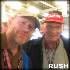 Ron Howard and Niki Lauda Ron Howard, Real Racing, Michael Schumacher, Car And Driver, Vintage Racing, Formula One, Race Cars, Family Guy, People