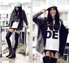 COME HERE RUDE BOY BOY (by Masha Sedgwick) http://lookbook.nu/look/4748295-COME-HERE-RUDE-BOY-BOY-Leggings-Eagle-Necklace-Ash-Boots-Cardigan