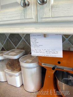 DIY Tablet/Recipe Book Holder under Cabinets - Reality Daydream Recipe Book Holders, Cookbook Holder, Tablet Recipe, Keep Recipe, All The Small Things, Making Life Easier, Under Cabinet, Home Upgrades, Organize Your Life