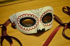 Crimson Skull Mask - Day of the Dead Katrina Spider Webs Burgandy Red Venetian Carnival Marti Gras Masquerade Costume Cos play
