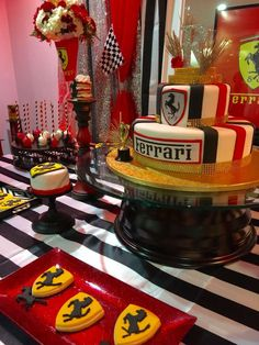 Amazing dessert at a Ferrari birthday party! See more party ideas at CatchMyParty.com!