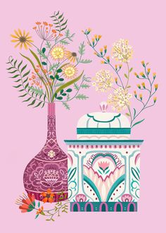 Leading Illustration & Publishing Agency based in London, New York & Marbella. Eid Crafts, Small Canvas Art, Islamic Art Calligraphy, Ceramic Flowers, Flower Vases, Flower Prints, Floral Watercolor, Cute Art, Art Lessons