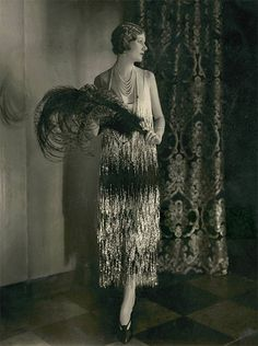 Alden Gay Wearing Pearls And A Gown Of Black And White Georgette Crepe By Chanel, 1924