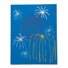 Fireworks Craft  This simple and fun craft project is perfect for the Fourth of July.  Supplies Needed: paint glitter Q-Tips construction paper  Place a few circles of paint on the construction paper for each child. Children use Q-Tips to spread out the paint in a star or firework shape. Sprinkle the wet paint with glitter.