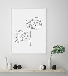 Monstera Leaves Line Art Print, Palm Leaf, Monstera Wall Art, Monstera Print, Tropical Print, Botani Monstera Deliciosa, Monstera Leaves, Palm Tattoos, Line Tattoos, Buddha Tattoos, Polynesian Tattoos, Sleeve Tattoos, Leaf Wall Art, Leaf Art