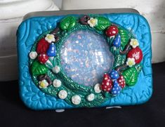 """A small rectangular hinged tin. Approx. 3.45"""" across, 2.45"""" back to front & depth 0.45"""". Decorated using polymer clay. Inside the top and bottom are lined with paper vellum stickers.  Inside is a host of goodies! Miniature Bottles, Small Bottles, Travel Kits, Altar, Wands, Pot Holders, Tin, Craft Supplies, Polymer Clay"""