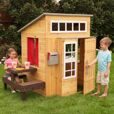 The Modern Outdoor Playhouse is a ton of fun, allowing kids to explore a whole new world without leaving the backyard. It has a timeless, one-of-a-kind design with a darling mini picnic bench one one side and and a darling front mail slot.