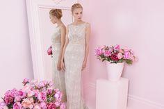 Full-body glistering embellishments, wedding dress by Alon Livne White