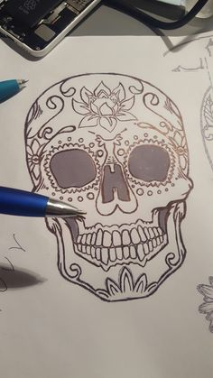 sugarskull drawing design tattoo