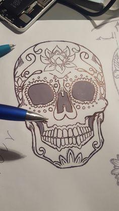 sugarskull drawing design tattoo