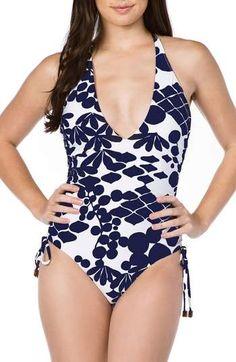 Trina Turk Bali Blossoms Halter One-Piece Swimsuit Purple High Heels, Halter One Piece Swimsuit, Classic Suit, Trina Turk, Swimsuits, Swimwear, Halter Neck, Nordstrom, Antique Furniture