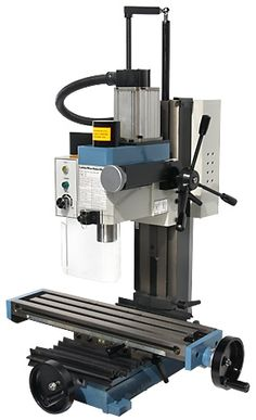"""HiTorque Mini Mill, Solid Column (very rigid design which I prefer) with Air Spring. HiTorque Mini Mill, Tilting Column with an 18.1"""" x 4.7"""" (460 mm x 120 mm) table, positioning accuracy of 0.0004"""" (0.010 mm), R8 spindle, and variable speed 500 W (2/3 HP) brushless spindle drive motor (no gears means quite operation)."""
