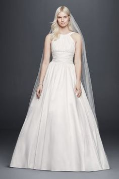 Elegant  Flattering ruching at the high neck bodice and waist make this taffeta wedding dress
