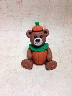 Polymer Clay Halloween Teddy Bear in Pumpkin Costume by Designs by Ginny Baker