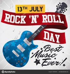 Starry electric guitar decorated with greeting ribbon, music notes and reminder date in tape to celebrate Rock 'n' Roll Day this 13th July.  Vector Stock Illustration Note Reminder, Vector Stock, Music Notes, Rock N Roll, Tape, Electric, Ribbon, Guitar, Dating