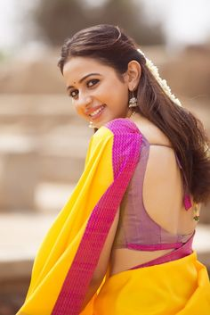 Rakul Preet in Yellow Saree with Cute and Lovely Smile in DEV Beautiful Girl Indian, Most Beautiful Indian Actress, Beautiful Saree, Beautiful Bollywood Actress, Beautiful Actresses, Rakul Preet Singh Saree, How To Pose For Pictures, Saree Poses, Saree Photoshoot