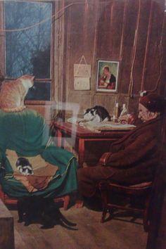 l'écrivain Paul Léautaud (1872-1966) avec ses chats - Izis Bidermanas