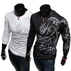 European and American style dragon totem tattoo long sleeve Brand t shirt cotton for men tshirt best t-shirt US $8.98