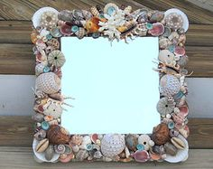 Beach Decor Shell Mirror with Coral, Natural Colorful Seashells. Sea Urchins and Turquoise Limpets