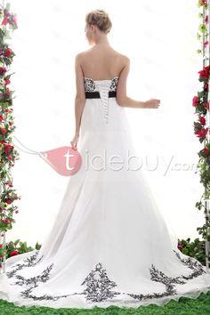 black and white wedding dress plus size a-line