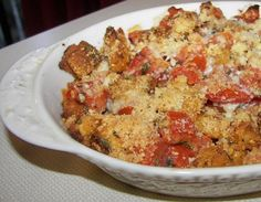 Scalloped Tomatoes by Barefoot Contessa. So yummy and my garden provides a lot of the food!