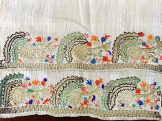 19th century Antique Ottoman Turkish gold metallic and silk hand embroidered Towel
