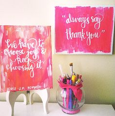 Quote Canvas Always say Thank you Acrylic Canvas by EvelynHenson