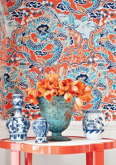Chic colorful vignette. oomph Greenwich Side in Knockout Orange.