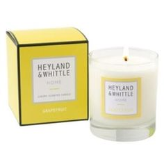 The Heyland & Whittle 'Home' range of candles is a fast and effective way to fill your room with our fantastic new fragrances.  Grapefruit: Crisp and fresh, hello world it's a brand new day.