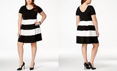 Soprano Plus Size Striped Skater Dress