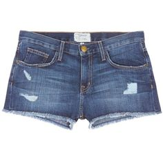 current/elliott 'The Boyfriend™' distressed rip frayed shorts found on Polyvore featuring shorts, bottoms, blue, destroyed denim shorts, low rise denim shorts, boyfriend shorts, cuffed denim shorts and blue shorts