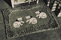 Items similar to Vintage Kitty Cat Rug Pattern Crochet Loop Cross Stitch PDF 5101 Size 22 X 32 inch floor covering mid century house on Etsy Crochet Blanket Patterns, Baby Blanket Crochet, Knitting Patterns, Knitting Books, Baby Knitting, Cat Rug, Crochet Hook Sizes, Vintage Crochet, Vintage Knitting
