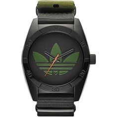 Adidas Men's ADH2875 Santiago Watch (59 CAD) ❤ liked on Polyvore featuring men's fashion, men's jewelry, men's watches, black, mens black face watches, mens watches, mens leather strap watches and mens watches jewelry