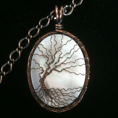 Extra Large Mother of Pearl Antique Copper Wire Wrapped Tree of Life   DesignsinCopper - Jewelry on ArtFire