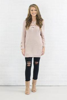Cute Blush Sweater- Trendy Lace-Up Knit- $44- Juliana's Boutique