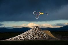 Paul Basagoitia freestyle mountain bike jumping on his private track in Minden, Nevada.