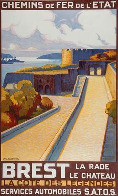 chemins de fer de l'état - Brest - la rade, le château - illustration de H. Lautrou - Bretagne - France -