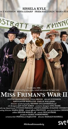 "2013 series. Meet a courageous group of women who takes on both the male rulers of the day and a corrupt grocery industry. Savvy is their strategy and cans of healthy food are their weapons. The three hour drama series ""Miss Friman's War"" is a humorous and poignant story about friendship and fighting for your dreams. It addresses topics that are as relevant today as they were then. Language: Swedish Trailer https://www.youtube.com/watch?v=7fzaow6iMfU"