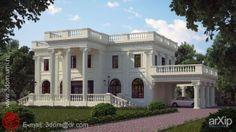 Особняк: архитектура, зd визуализация, 2 эт | 6м, жилье, 300 - 500 м2, фасад - штукатурка, коттедж, особняк, классицизм, архитектура #architecture #3dvisualization #2fl_6m #housing #300_500m2 #facade_plaster #cottage #mansion #classicism #architecture arXip.com