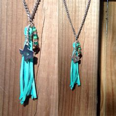 Turquoise wire wrapped leather tassel necklace by TexasMadeJewelry