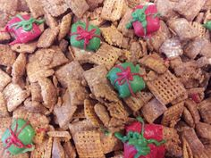 Festive Christmas puppy chow Chex Mix