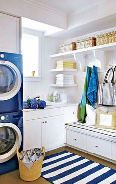 Simple Laundry Room Space Saving Tips. Consider these tips to help create an organized and efficient laundry room. Make better use of your utilitarian space. #laundry #interiors #spacesaving http://stagetecture.com/2014/08/simple-laundry-room-space-saving-tips/