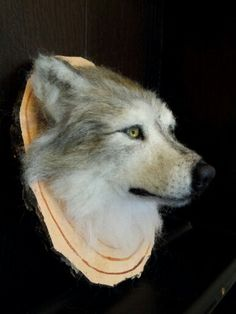 Needlefelted mounted head of a wolf by #ChicktinCreations