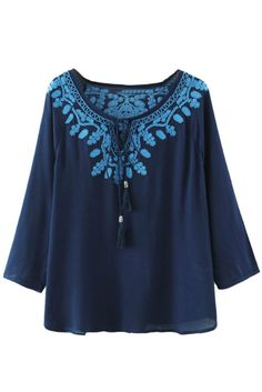 Blue Embroidered Peasant Blouse