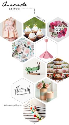 Amanda Loves // Edition 10 – Spring [Daksha Embroidered Top, Anthropologie, Beehive Cupcakes, Embrace Your Flaws Print, Watercolour Flowers, Watercolor, Jonosfar lamp, Ikea, Grasshopper stapler, stationery, office supplies, Wallpapered Stairs, Floral, Vintage, rustic, Flourish, typography, cursive, lettering, handwritten, calligraphy, wooden painted vase, candle holder, Shade on Shape, Bead and chain necklace, Pretty Nest Things, spring, pastel, colour, bright [hexagon blog post layout…