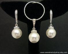 Wedding Pearl Jewelry Set Bridesmaid Jewelry Set White Swarovski Round Pearl Drop with Cubic Zirconia Jewelry Set Necklace & Earrings Set