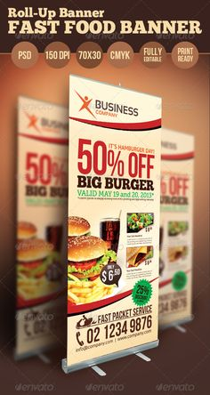 Fast Food Banner — Photoshop PSD #salad #rollup • Available here → https://graphicriver.net/item/fast-food-banner/4686938?ref=pxcr