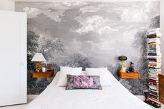 Before & After: A Stunning Transformation We're Pinning Like Crazy #refinery29  http://www.refinery29.com/small-space-makeover#slide-12  A stenciled mural on the bedroom's back wall nods to Eddera's French heritage, and passion for the outdoors....